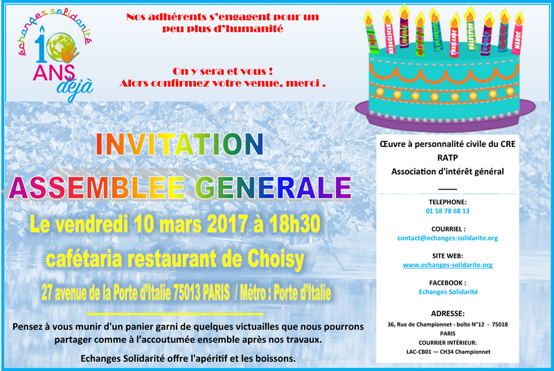 INVITATION AG ECHANGES SOLIDARITE 2017
